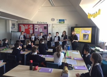 Herts Refugees Charity visits Year 6 to support Year 6's Fun Run, May 2019